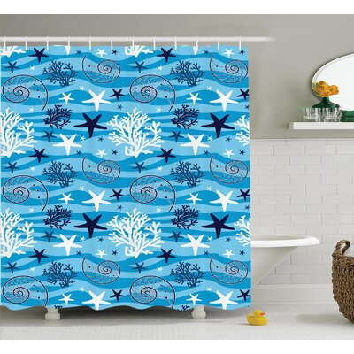 """Scallop Shower Curtain Size: 69"""" H x 70"""" W"""
