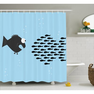 """Little Fish Crew and Big Fish Decor Shower Curtain Size: 69"""" H x 84"""" W"""