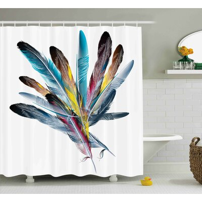 """Feather Decor Shower Curtain Size: 69"""" H x 84"""" W"""