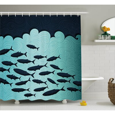 "Fish Dive Nautical Decor Shower Curtain Size: 69"" H x 70"" W"