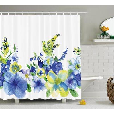 "Swirled Brushstroke Herbs Decor Shower Curtain Size: 69"" H x 84"" W"