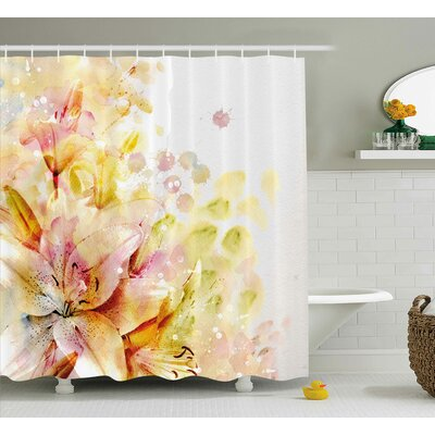 """Lilies Flowers Buds Woven Shower Curtain Size: 69"""" H x 84"""" W"""
