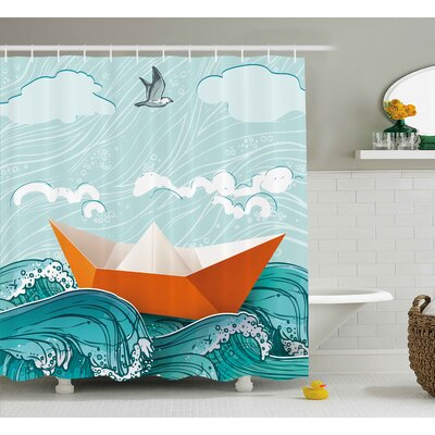 "Paper Sail Ship Shower Curtain Size: 69"" H x 70"" W"