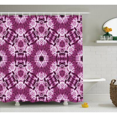 """Oriental Trippy Motive with Morphing Spotted Decor Shower Curtain Size: 69"""" H x 75"""" W"""