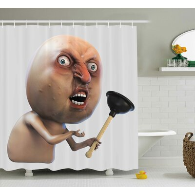 """Long Face Angry Grumpy Decor Shower Curtain Size: 69"""" H x 70"""" W"""