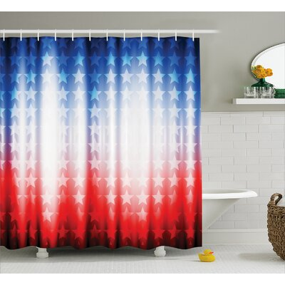 """Background with Stars Decor Shower Curtain Size: 69"""" H x 70"""" W"""