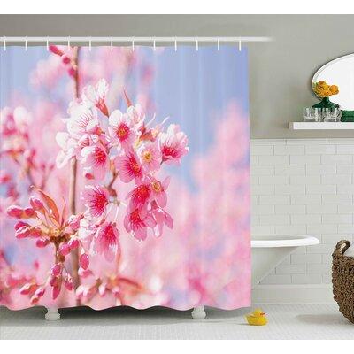 "Sakura Blossom Shower Curtain Size: 69"" H x 70"" W"