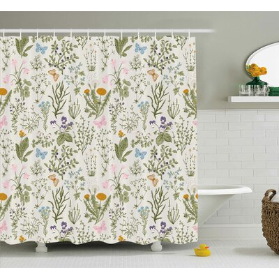 "Menthe Herbs Flowers Shower Curtain Size: 69"" H x 84"" W"