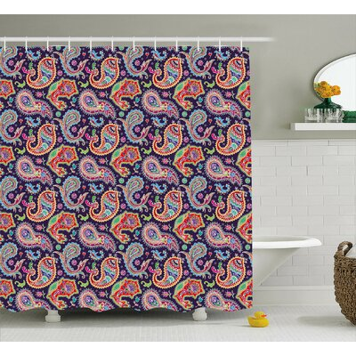 "Accrington Geometrical and Floral Decor Shower Curtain Size: 69"" H x 70"" W"