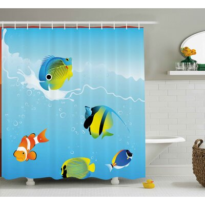 """Tropical Fish Shower Curtain Size: 69"""" H x 75"""" W"""