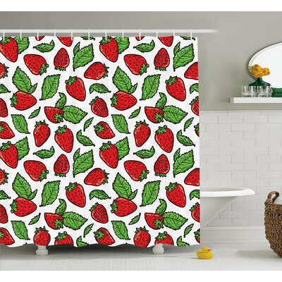 """Juicy Strawberries Shower Curtain Size: 69"""" H x 70"""" W"""