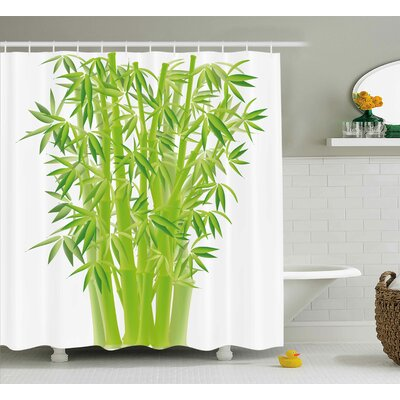 "Bamboo Stems Shower Curtain Size: 69"" H x 84"" W"