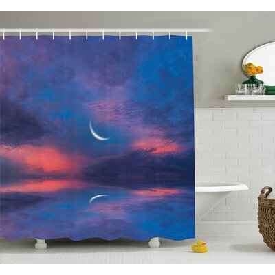 "Clovis Crescent Moon Decor Shower Curtain Size: 69"" H x 70"" W"