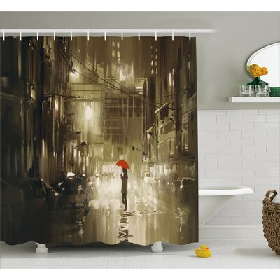 """Woman with Red Umbrella Decor Shower Curtain Size: 69"""" H x 70"""" W"""