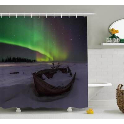 """Wooden Boat Shower Curtain Size: 69"""" H x 84"""" W"""