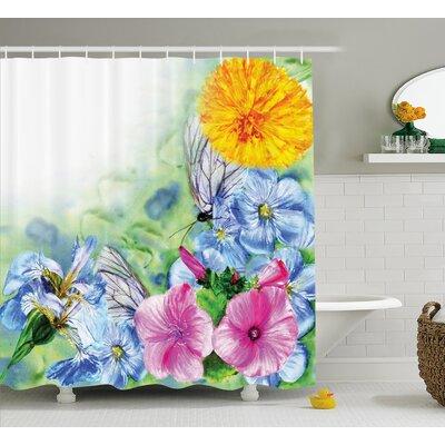 "Peony Poppy Petals Decor Shower Curtain Size: 69"" H x 84"" W"