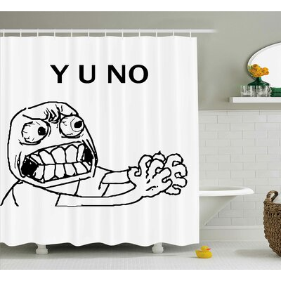 """Face Figure with Big Eyes Decor Shower Curtain Size: 69"""" H x 84"""" W"""