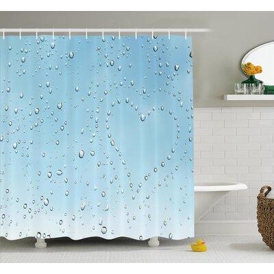 """Heart Shape Rain Droplets Decor Shower Curtain Size: 69"""" H x 70"""" W"""