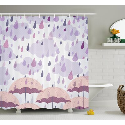 "Umbrella and Raindrops Decor Shower Curtain Size: 69"" H x 75"" W"