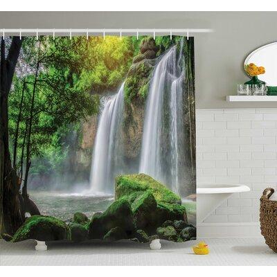 "Cascade Stream Decor Shower Curtain Size: 69"" H x 70"" W"