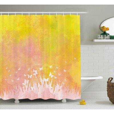 """Grass and Butterfly Shower Curtain Size: 69"""" H x 75"""" W"""