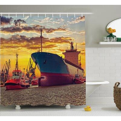"Giant Ship Nautical Decor Shower Curtain Size: 69"" H x 70"" W"