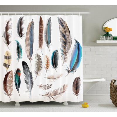 """Feather Setting Decor Shower Curtain Size: 69"""" H x 84"""" W"""