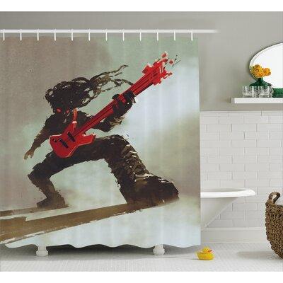 "Rocker Decor Shower Curtain Size: 69"" H x 70"" W"