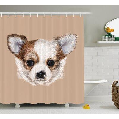 """Puppy Portrait Shower Curtain Size: 69"""" H x 84"""" W"""