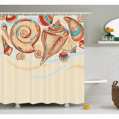 "Mollusk Shower Curtain Size: 69"" H x 75"" W"