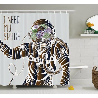 """I Need My Space Decor Shower Curtain Size: 69"""" H x 75"""" W"""