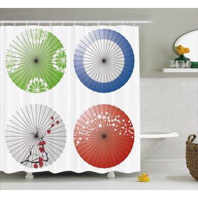 "Japanese Umbrella Decor Shower Curtain Size: 69"" H x 70"" W"