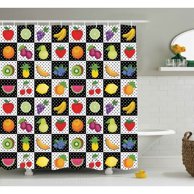 """Dots Chess Squares Shower Curtain Size: 69"""" H x 70"""" W"""