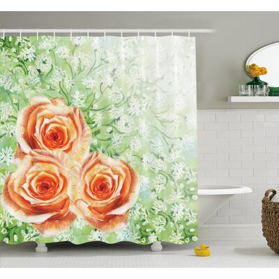 """Roses on Grass Decor Shower Curtain Size: 69"""" H x 70"""" W"""