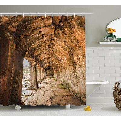 "Ancient Temple Decor Shower Curtain Size: 69"" H x 70"" W"