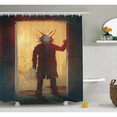 "Man With Rabbit Decor Shower Curtain Size: 69"" H x 70"" W"