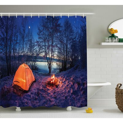 """Night Camping Decor Shower Curtain Size: 69"""" H x 75"""" W"""