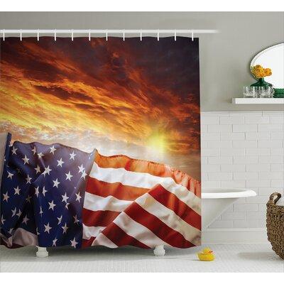 "Flag and Sky Decor Shower Curtain Size: 69"" H x 70"" W"