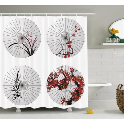 """Floral Lines and Bamboo Decor Shower Curtain Size: 69"""" H x 84"""" W"""