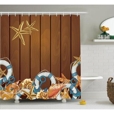"Seashells Anchors Starfish Backdrop Shower Curtain Size: 69"" H x 70"" W"