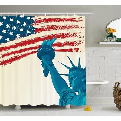 "Freedom Symbol Decor Shower Curtain Size: 69"" H x 75"" W"
