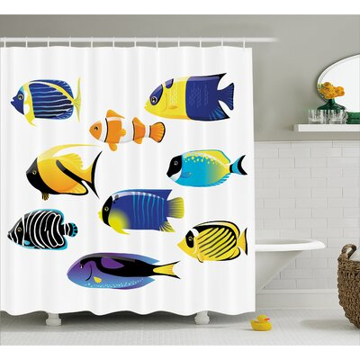 "Atlantic Fish Decor Shower Curtain Size: 69"" H x 70"" W"