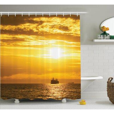 """Cargo Ship Nautical Decor Shower Curtain Size: 69"""" H x 70"""" W"""