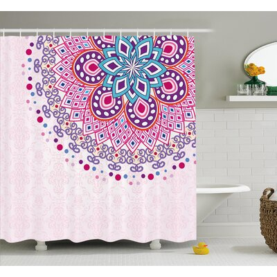 """Indian Ornamental Shower Curtain Size: 69"""" H x 84"""" W"""