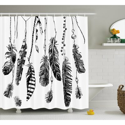 """Feather Drawing Decor Shower Curtain Size: 69"""" H x 70"""" W"""