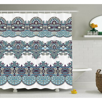 """Floral Bordered Decor Shower Curtain Size: 69"""" H x 70"""" W"""