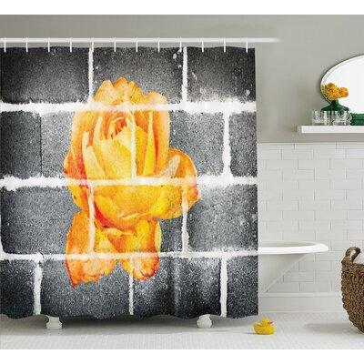 "Flower Decor Shower Curtain Size: 69"" H x 75"" W"