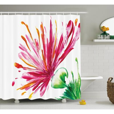 "Oriental Lily Decor Shower Curtain Size: 69"" H x 84"" W"