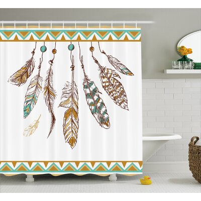 """Indian Old Hippie Feather Decor Shower Curtain Size: 69"""" H x 75"""" W"""