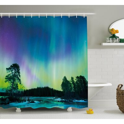 """Sky Over Lake Shower Curtain Size: 69"""" H x 75"""" W"""